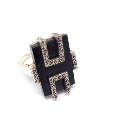 big-ring-onyx-silver-and-marcasites of art deco creator