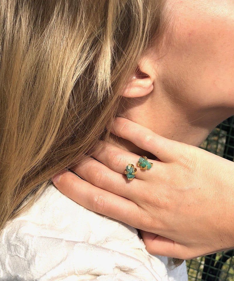 Amy Gattas Double Muzo Ring, Emerald Created Stone