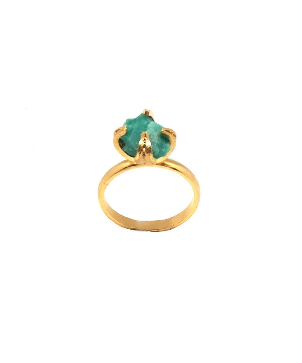 Amy Gattas Muzo ring, creative emerald stone