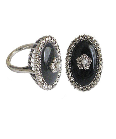Silver Marcasite onyx ring and cultured pearl