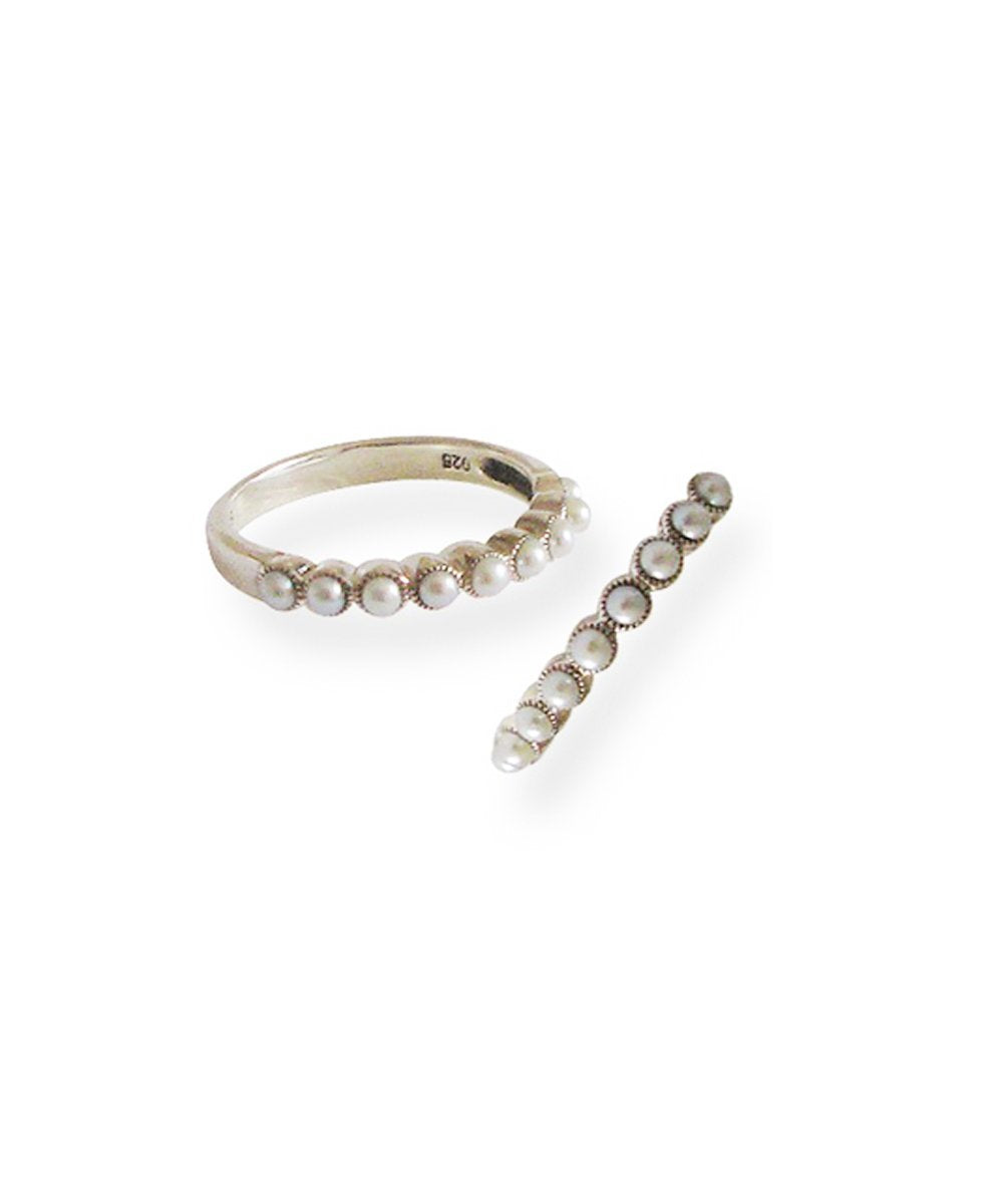 bague perles de culture en argent Editions LESSisRARE Perle