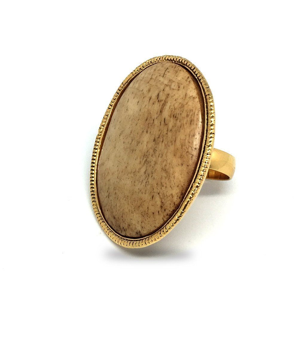 Large oval ring in natural stone - Poggi