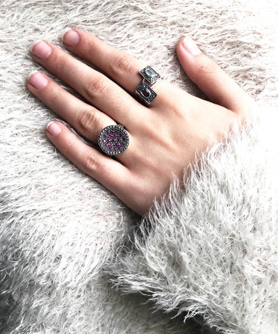 round ruby ​​silver art deco ring worn