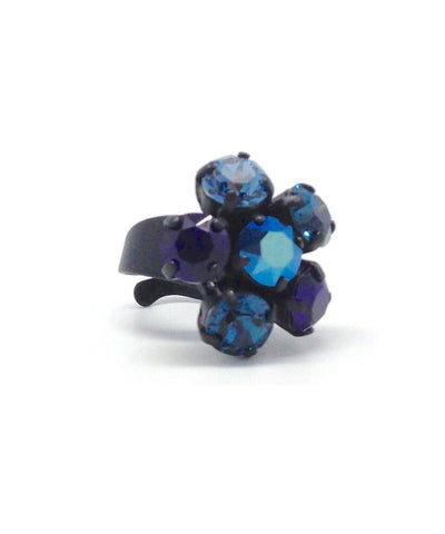 Blue Swarovski Crystals Flower Ring Designer Ring