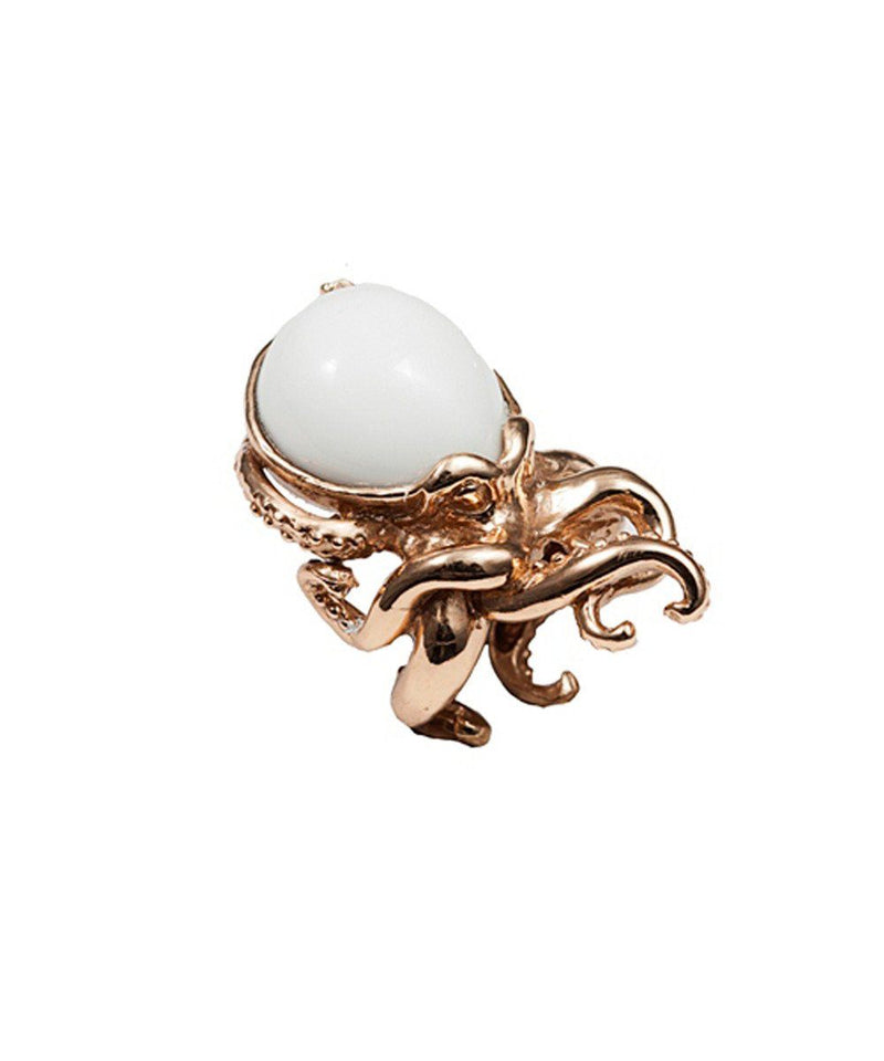 Bernard delettrez Octopus ring in bronze and stone - Designer white agate