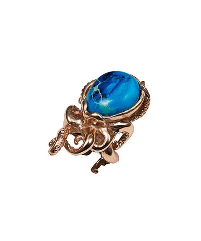 Octopus ring in bronze and stone - Pyrite Chryscolla creator Ring