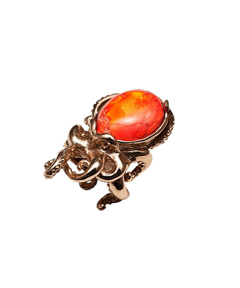 Bernard delettrez Octopus ring in bronze and stone Agate fire creator