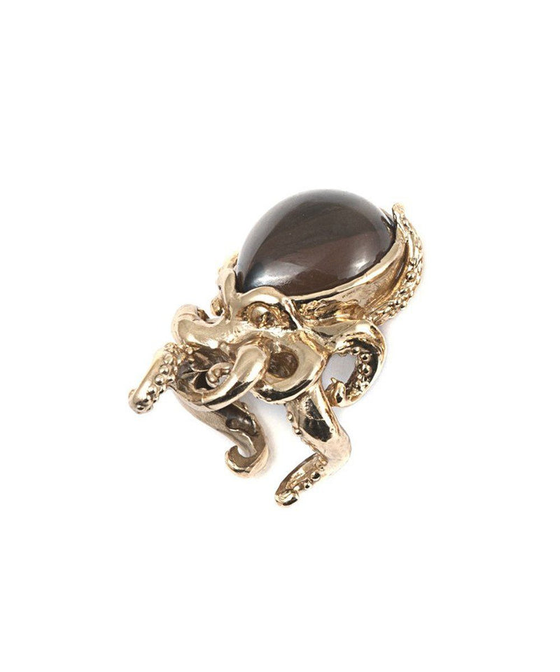 Bernard Delettrez ring octopus in bronze and smoked quartz