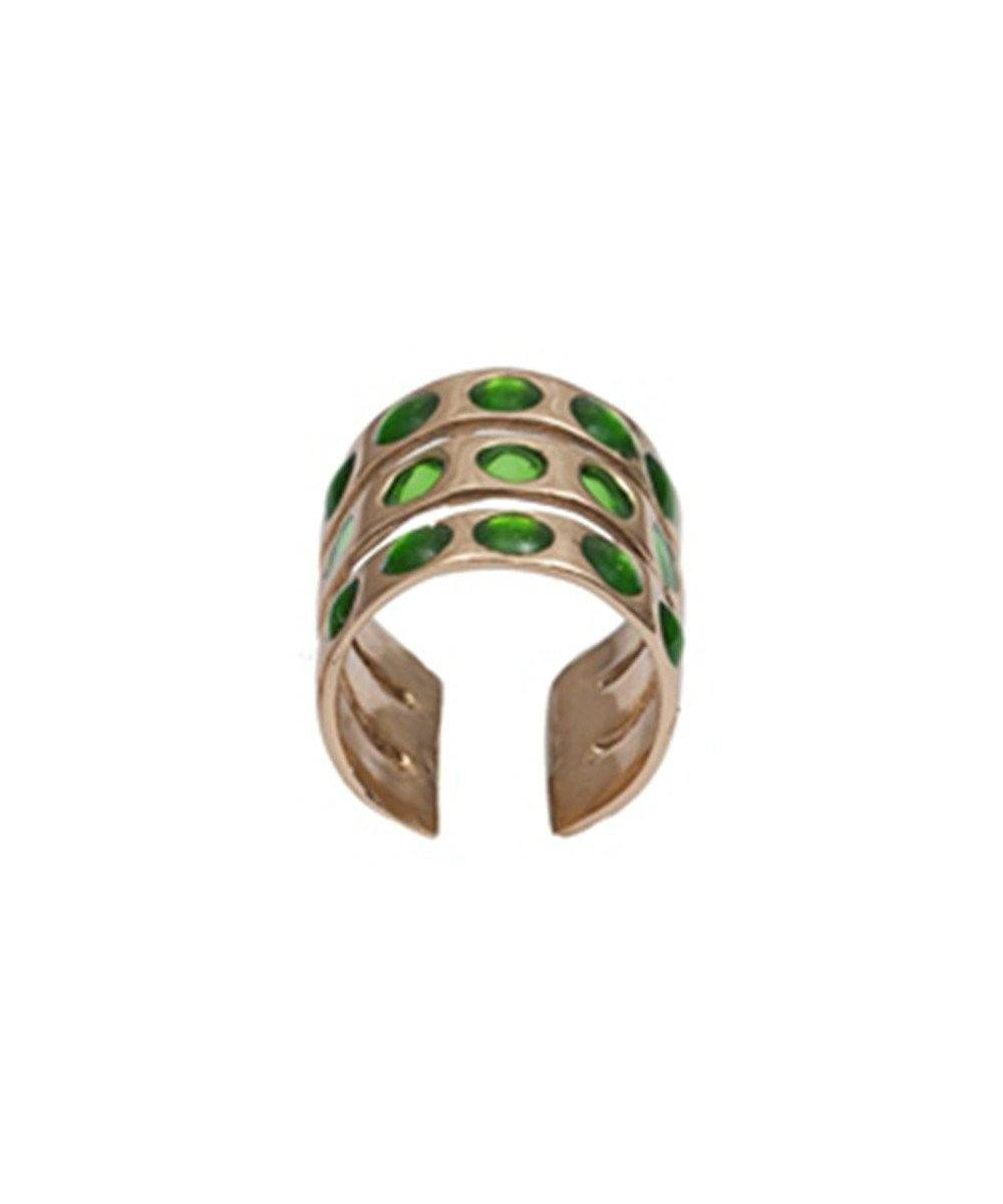 Bernard-Delettrez-triple-ring-and-bronze-enamel-green
