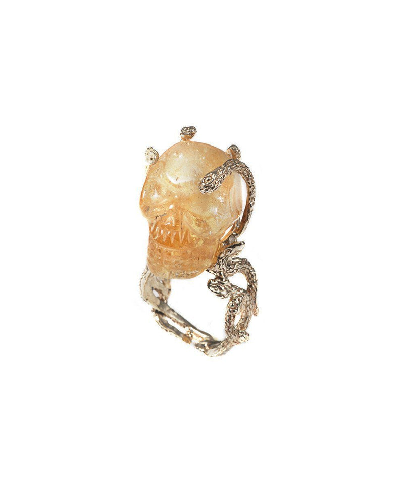Stone skull and snakes ring - Citrine créative Ring