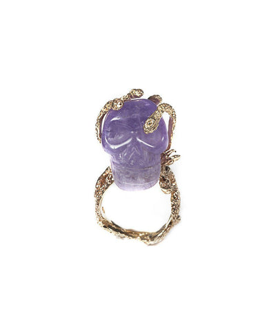 Stone skull and snakes ring - Amethyst creator Ring
