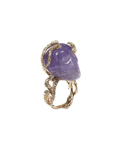 Stone skull and snakes ring - Amethyst creator Ring 1