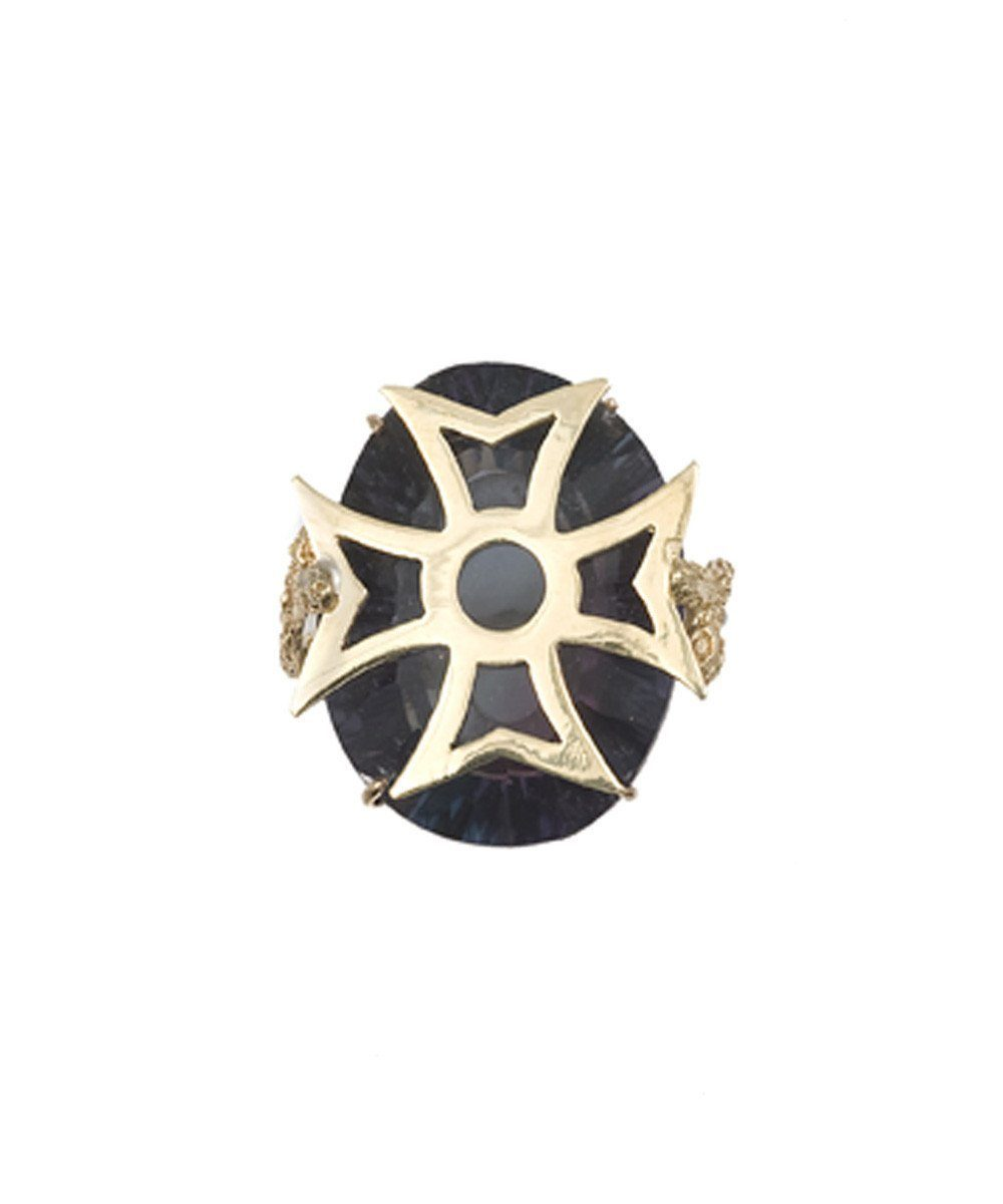 Byzantine cross ring in gold and stone in fluorite designer Ring