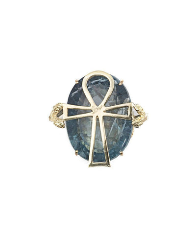 Egyptian cross ring in gold and stone in fluorite ring designer