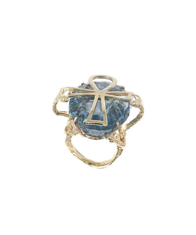 Egyptian cross ring in gold and stone in fluorite creator Ring 1