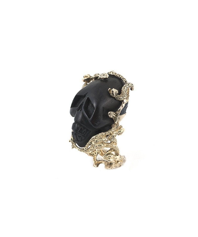 Gold Skull and Snake Ring - Black Designer Ring