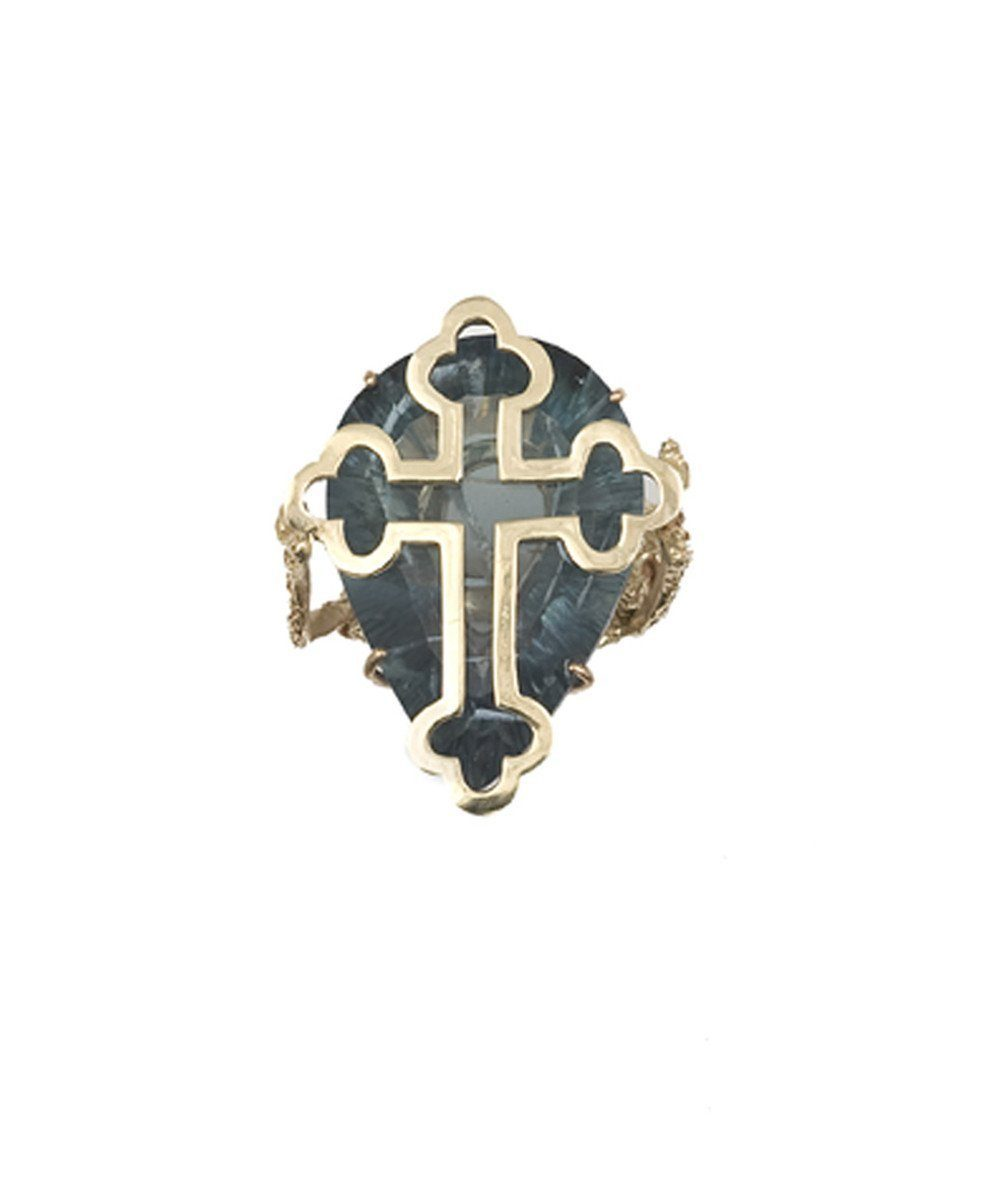 Orthodox cross ring in gold and stone in fluorite creator Ring