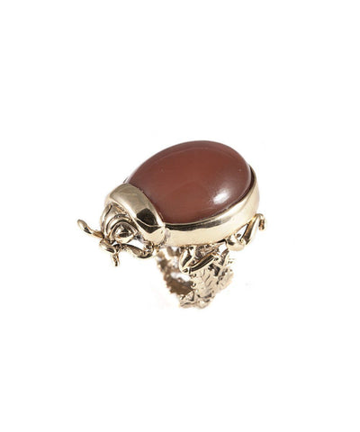 Ladybug ring in bronze and Moon stone designer Ring