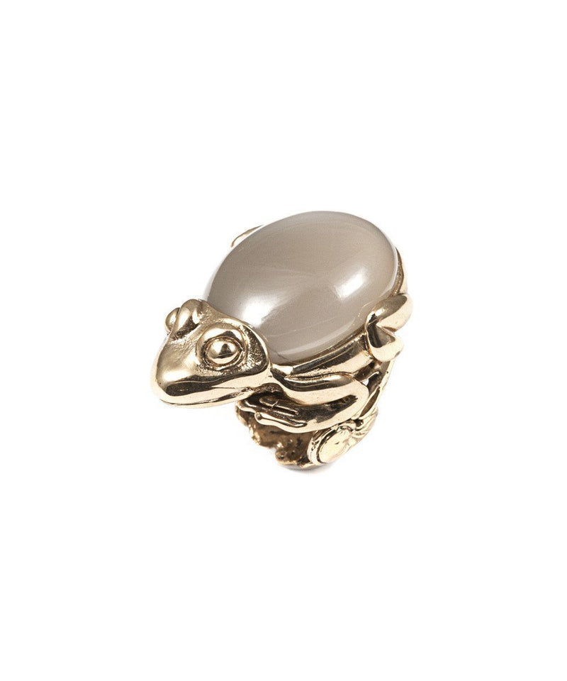 Frog ring in bronze and moonstone - Bernard Delettrez