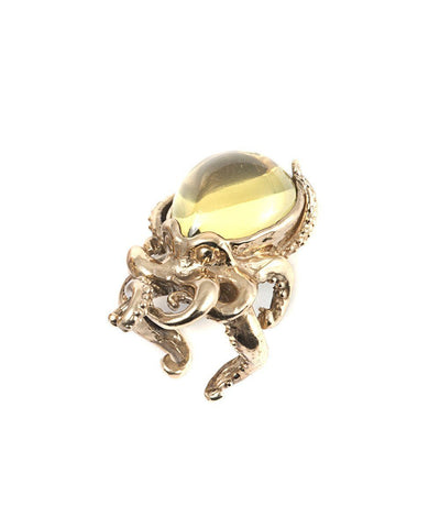 Octopus ring in bronze and stone - Prasorite creator Ring