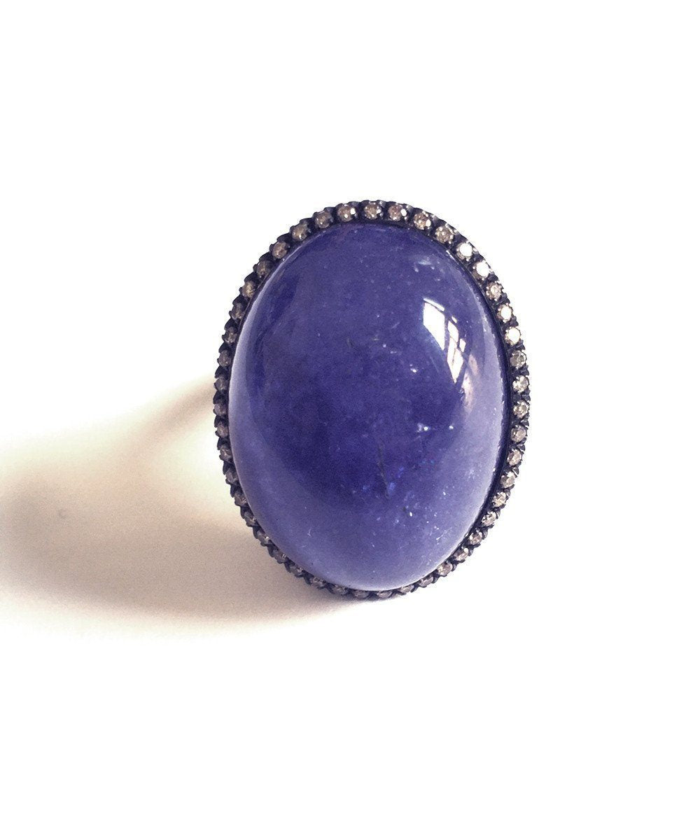 Tanzanite ring and brown diamonds creator France Thierard