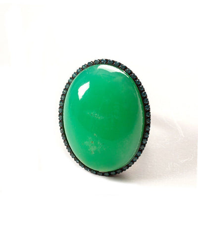 Chrysoprase ring and blue topaz ring
