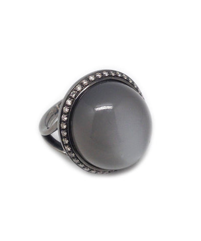 Bague Pierre de Lune et diamants France Thierard