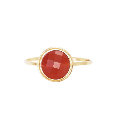 My little red agate ring in gold and stone designer Paola Zovar