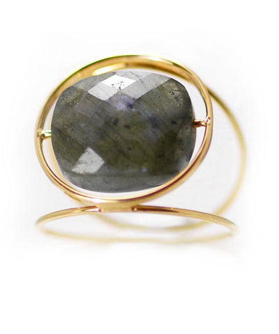 Grand Regard gold ring with interchangeable stone designer ring