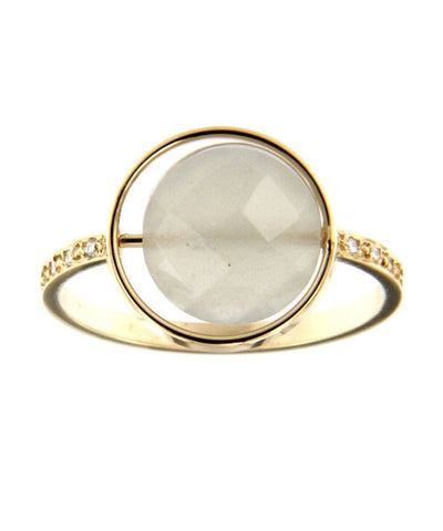 Gray moonstone ring Paola zovar Small look set with diamonds