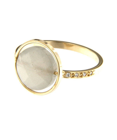 Gray moonstone ring Paola zovar side Small look set with diamonds