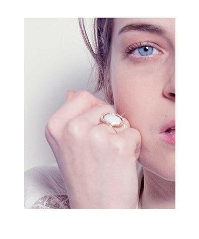 White agate ring Paola Zovar Large interchangeable stone look set with diamonds white gold designer ring