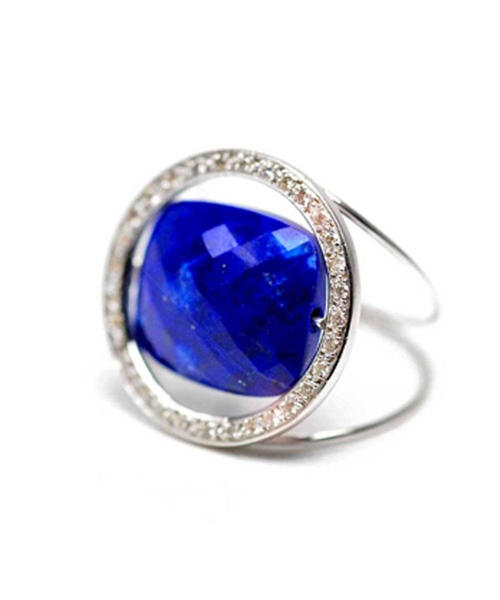 Bague Lapis Lazuli Grand Regard pierre interchangeable sertie diamants or blanc - Paola zovar