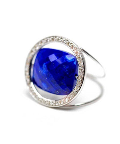 Bague Lapis Lazuli Paola zovar Grand Regard pierre interchangeable sertie diamants or blanc créateur Bague