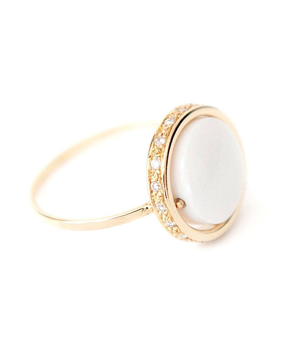 White agate ring Small look set with diamonds designer Paola zovar