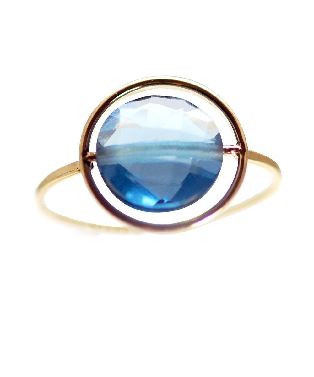Petit Regard gold ring and topaz or designer garnet ring