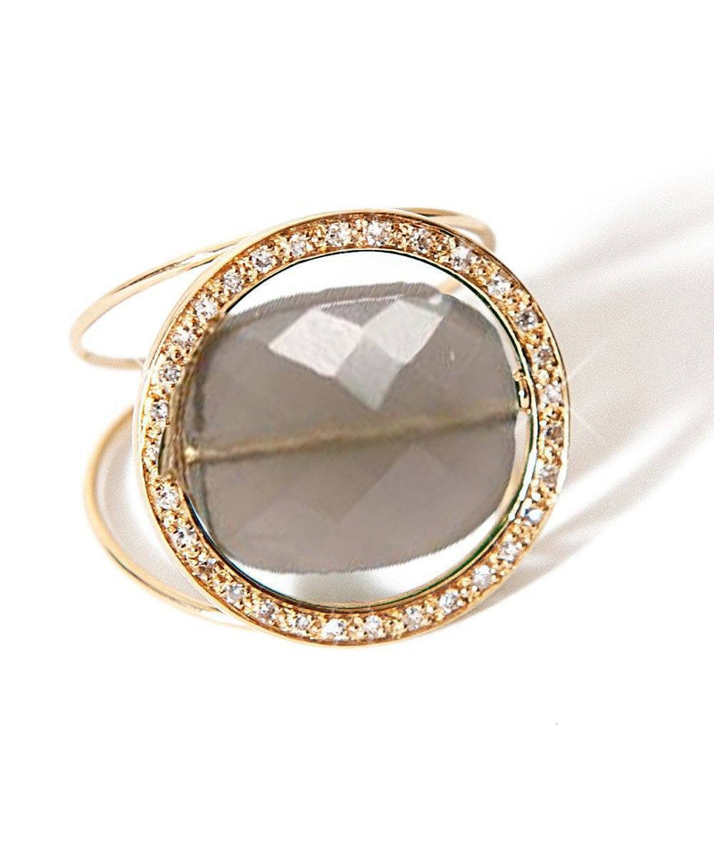 Large Interchangeable Stone Look ring set with diamonds designer ring