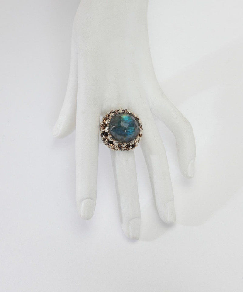 Large silver blue quartz cabochon ring, Zangara