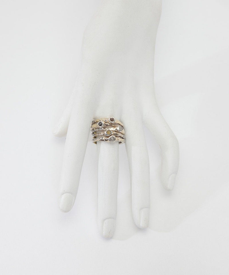 Quintet of diamond rings in gold and silver - Zangara