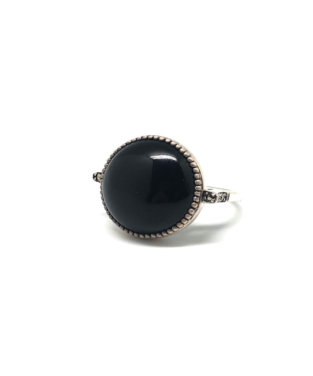 Onyx ring art deco round silver and marcasites - Metron