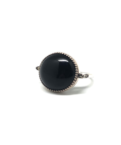 Silver round onyx ring art deco