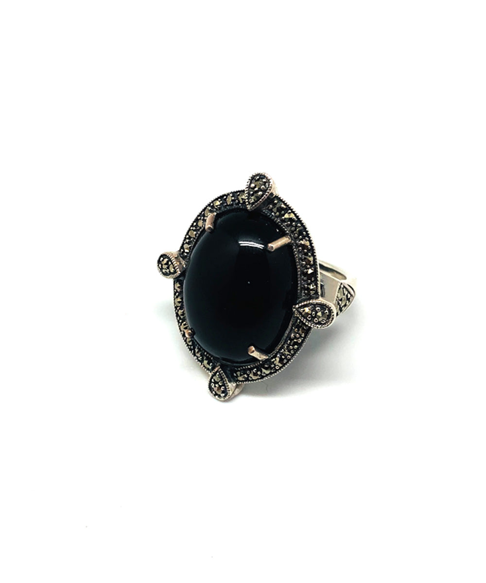 onyx ring cabochon in silver and marcasites