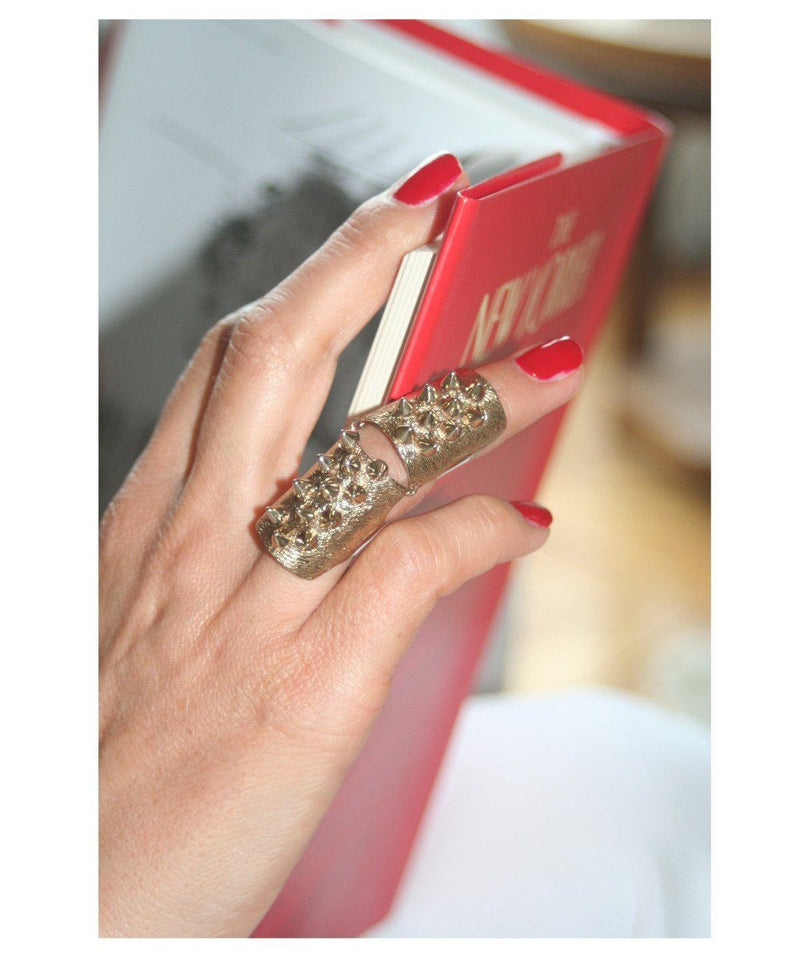 Articulated ring rivets bronze designer ring