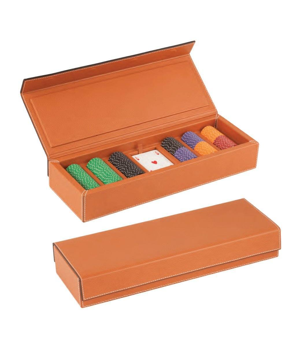 orange leather poker case