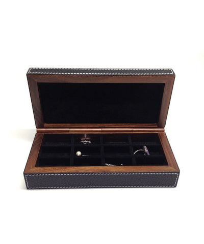 1 black leather and wood buffle cufflink box
