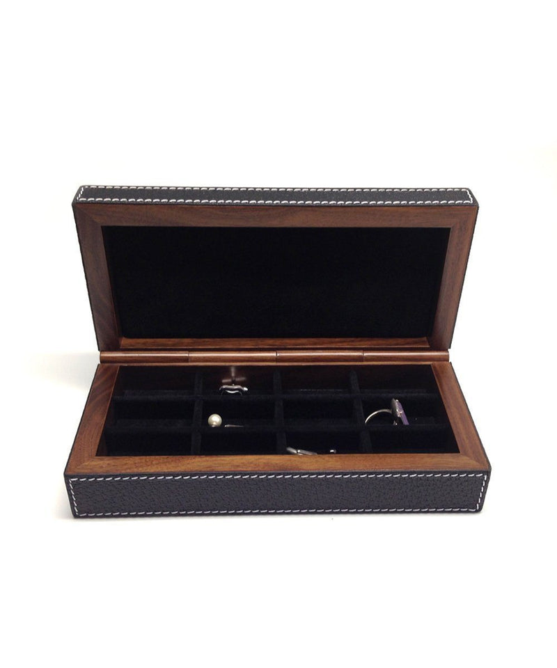 Cufflinks box in black leather and bhome wood