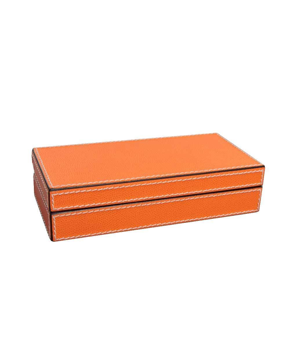 Custom orange leather and wood cufflinks box