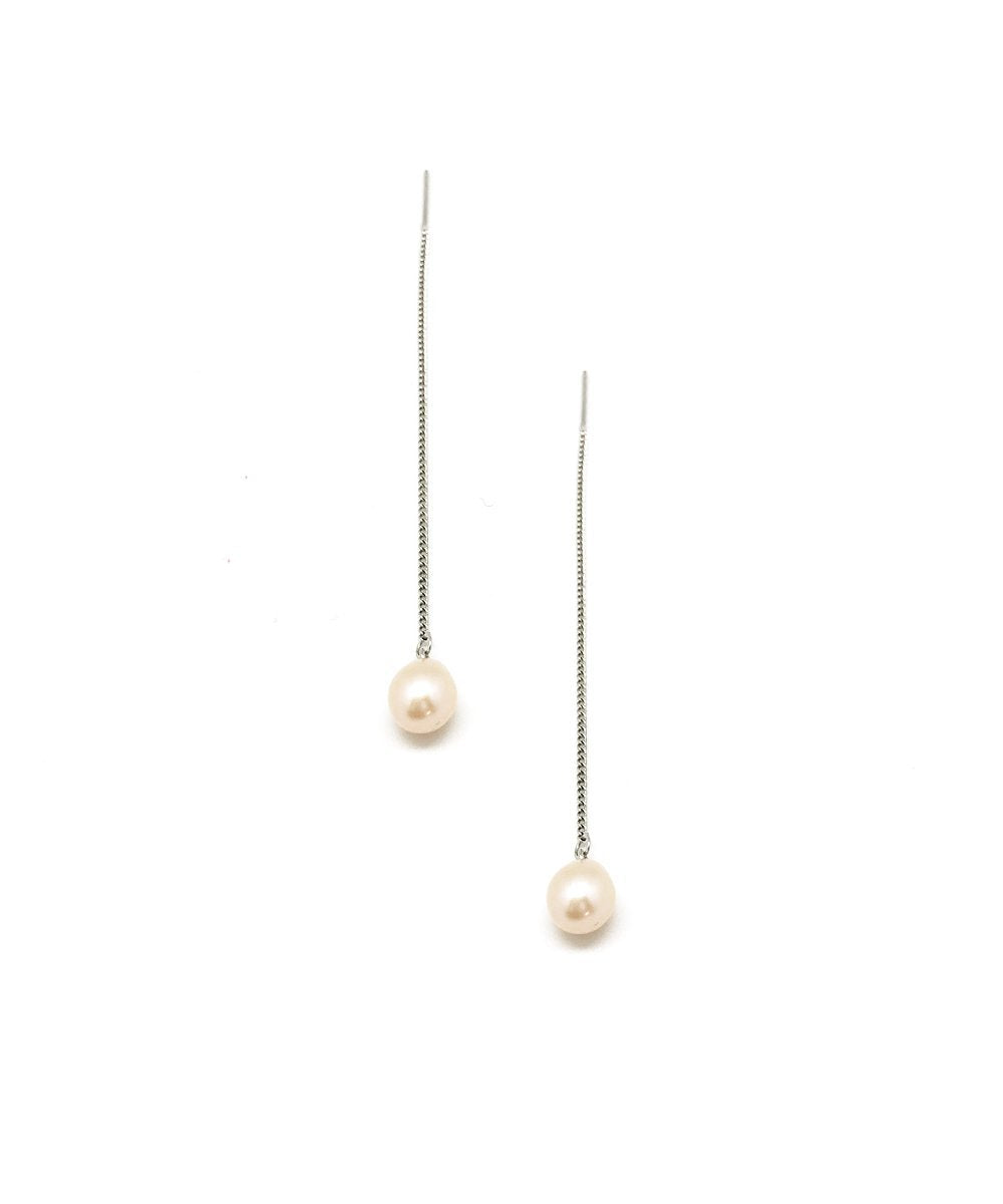 Earrings chain white pearls pendants - Editions LESSisRARE pearls