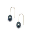 gray pearl earrings on silver rods Editions LESSisRARE pearls