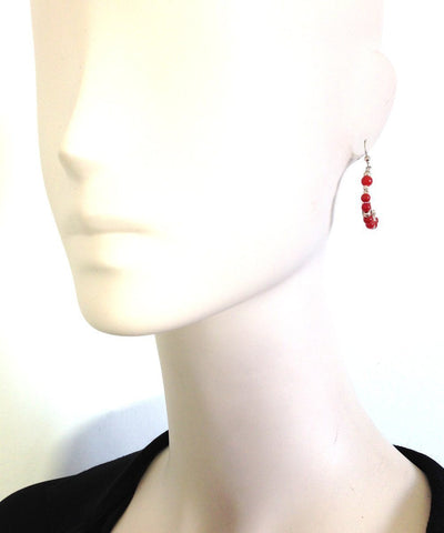 Mini hoop earrings in coral and silver Editions LESSisRARE Jewelery worn
